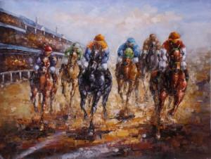 美式赛马油画