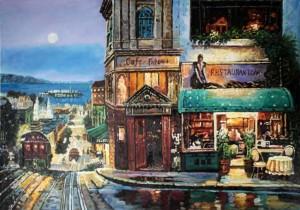 美式街景油画