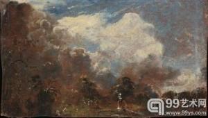 粘在《枝山池:汉普斯特德》背后的画作