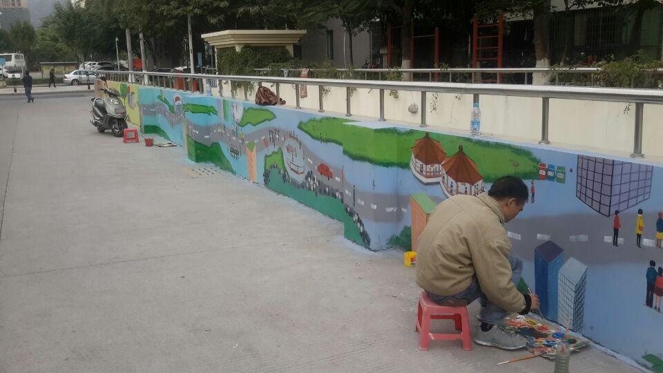 厦门海沧海虹社区绿苑小区客户墙绘案例展示