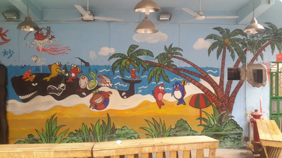 厦门曾厝垵餐厅55平墙绘案例展示