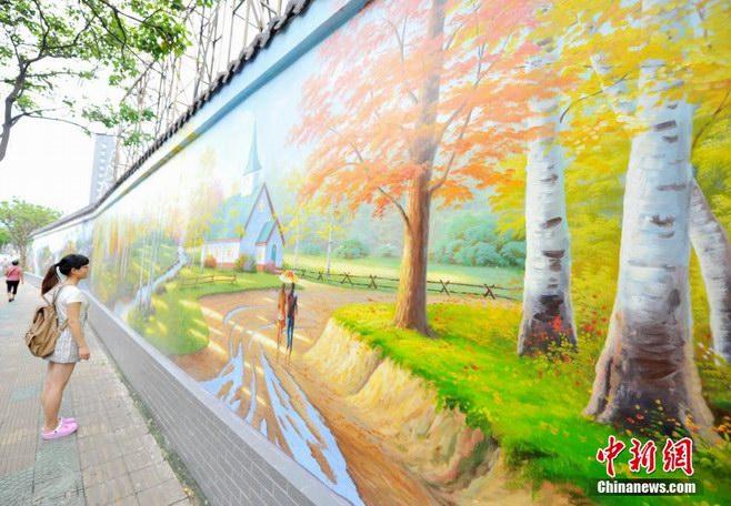 美丽墙绘油画妆点厦门街头