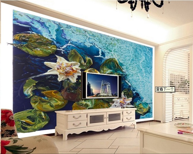 欧式设计的手绘图案色彩比较中性,低调,墙画图案主要来源于古典的欧式
