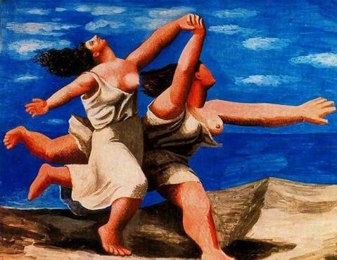 毕加索油画《两个在海滩上奔跑的女人》