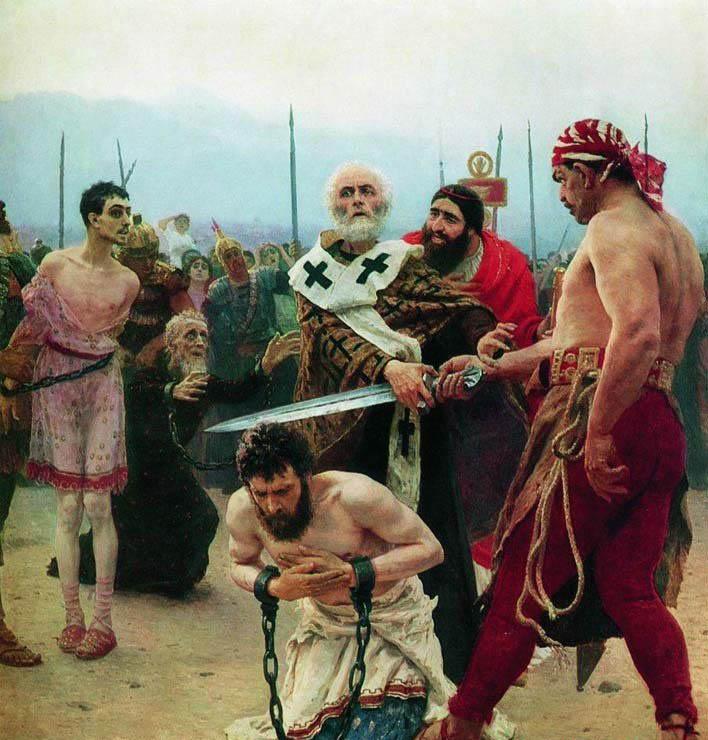 列宾油画《圣尼古拉斯解救即将处死的三个无辜的人》