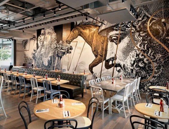 墙绘艺术打造室内新视觉   香港beef & liberty餐厅