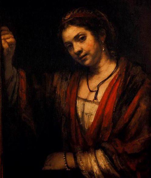 伦勃朗油画《凭窗的亨德里治/门边的亨德里治》
