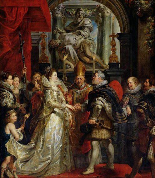 鲁本斯油画《玛丽.美第奇与亨利四世的婚礼》