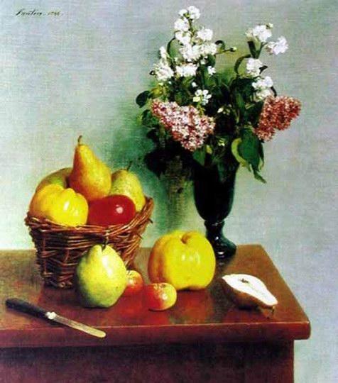 《春天的花苹果和梨》-静物画