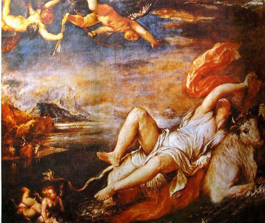 提香神话题材油画《劫夺欧罗巴》
