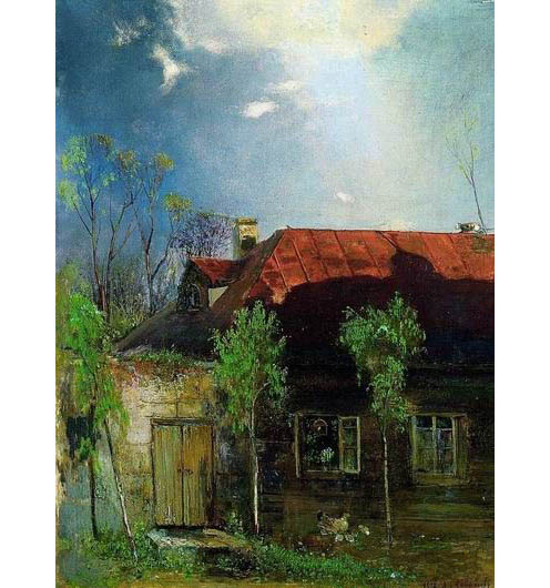 油画《春天的小屋》