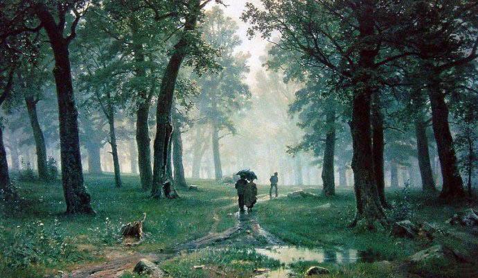 希施金油画《林中雨滴》