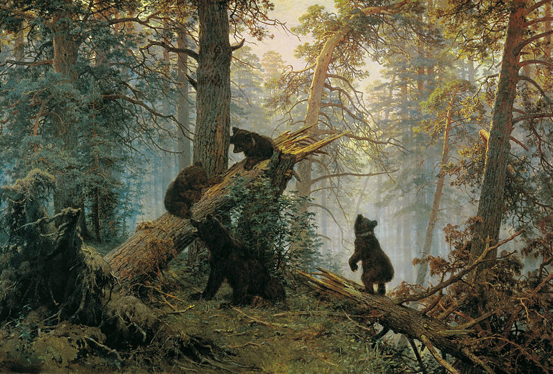 俄国画家希施金代表作《松树林之晨》