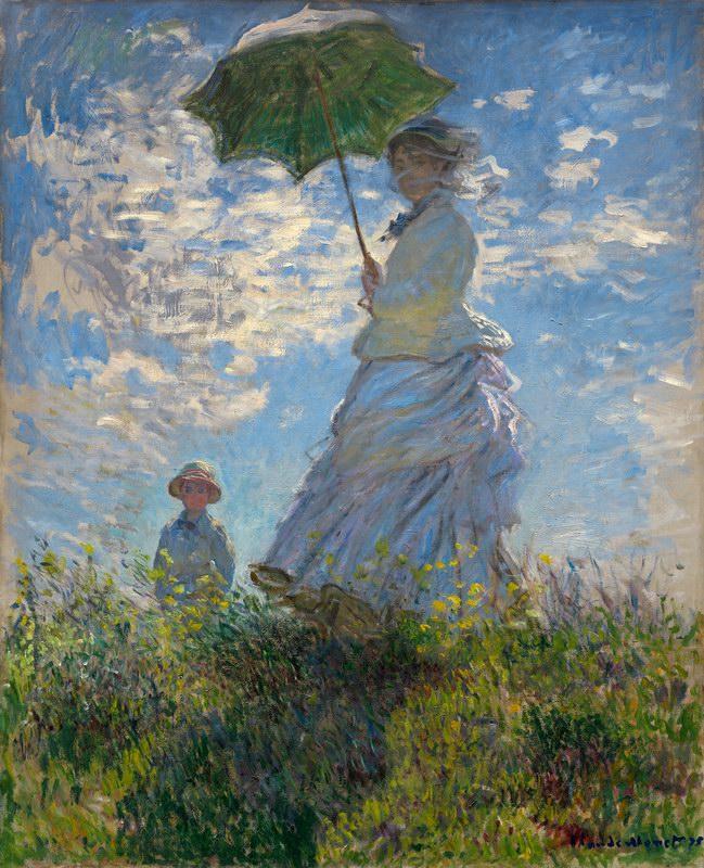 莫奈油画《撑阳伞的女人》