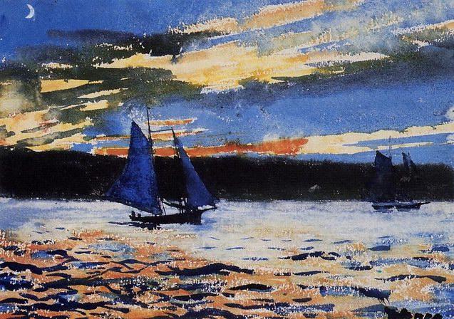 温斯洛·霍默油画《蓝色小船》