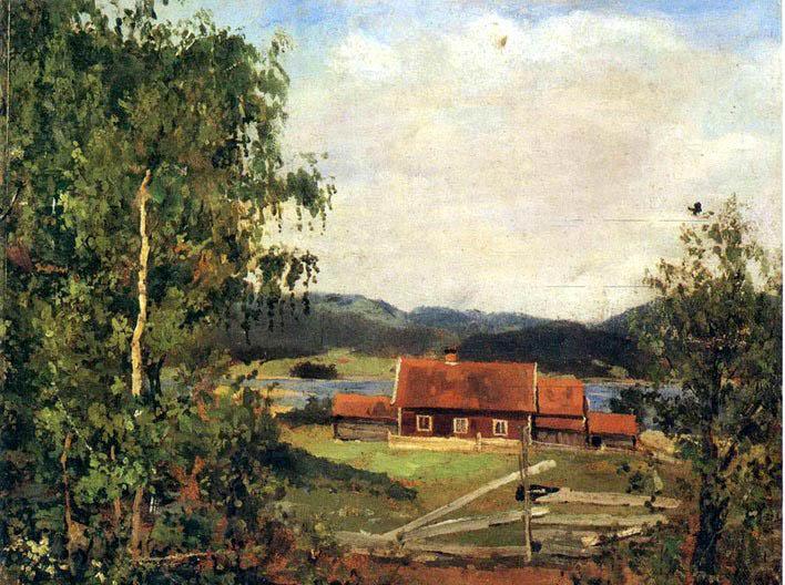 蒙克风景油画《奥斯陆郊区的风景》_伟强林油画家