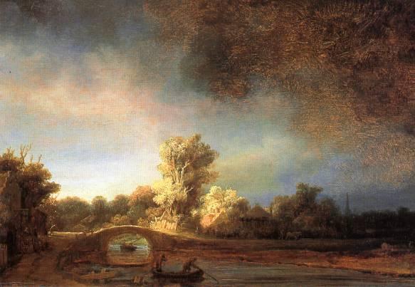 伦勃朗油画《石桥》