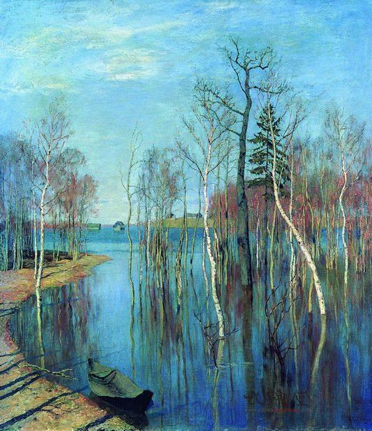 列维坦油画 春潮