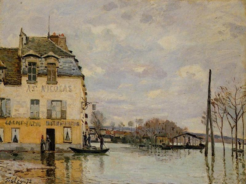 印象派画家西斯莱代表作《马利港的洪水》