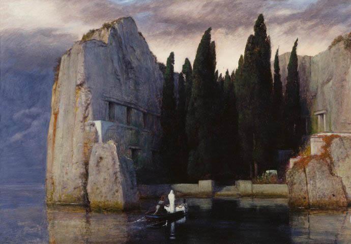 阿诺德·勃克林油画《死亡之岛》