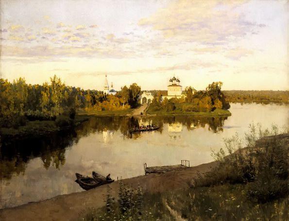 列维坦油画《晚钟》
