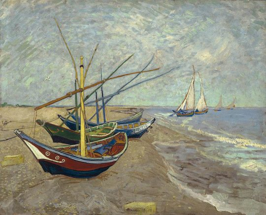 文森特·梵高 > 沙滩上的渔船