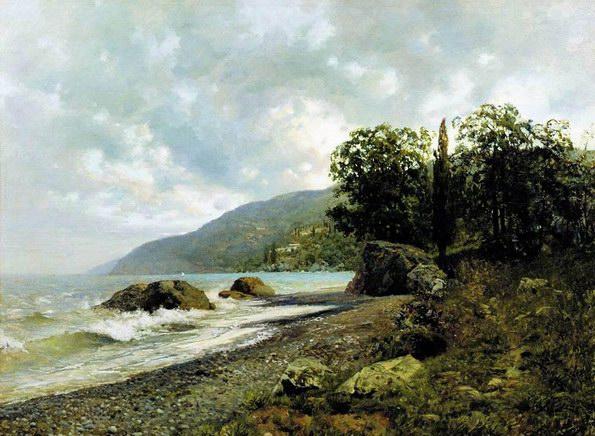 伊萨克·列维坦风景油画《克里米亚海岸》
