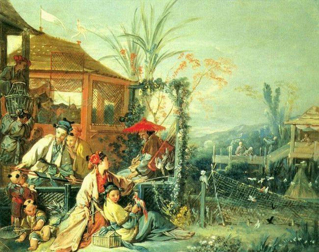 布歇油画《有中国人物的风景》