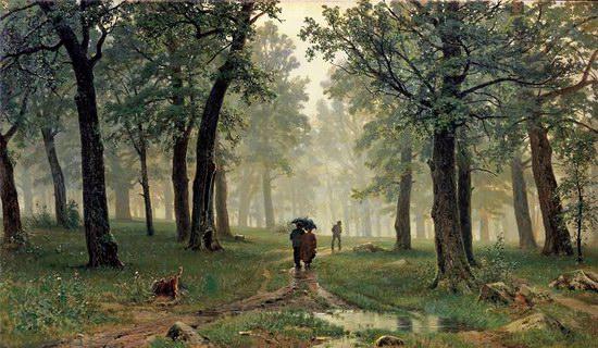 伊万·希什金油画《橡木林中的雨》