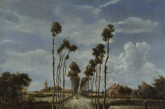 霍贝玛油画《米德哈斯尼斯的小道》